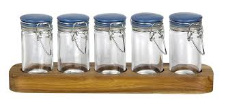 jamie oliver spice jar set 5 piece favourite spices recycled glass and stand acacia wood storage base silicone seal blue stainless steel canister lids jars