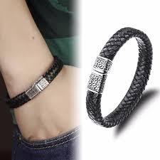 hand bracelet men images Genuine leather bracelet men stainless steel leather hand woven jpg