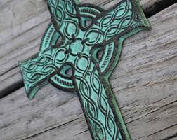 wall design celtic cross wall green turquoise black woven