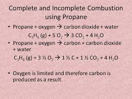 complete and incomplete combustion using propane