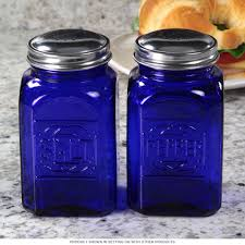 cobalt blue salt and pepper shakers reproduction kitchenware
