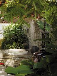 rustic tropical outdoor shower tree design natural steeping stone