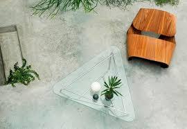Designer Couchtisch Glas Prisma Moderne Couchtisch Glas Edelstahl Dreieckig Prism Made