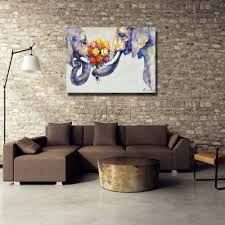 aliexpress com buy two elephant with the flower oil painting on