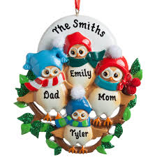 personalized ornaments family of 4 owls personalized ornament personalized planet