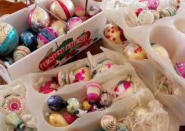 oodles and oodles sorting through vintage christmas ornaments