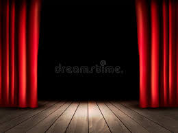 theater stage with wooden floor and red curtains stock vector