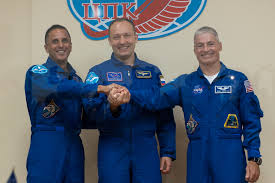 u s russian crew trio on the eve of liftoff on 167 day space