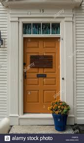 House Front Door American Flag On House Front Door Portsmouth Nh Stock Photo