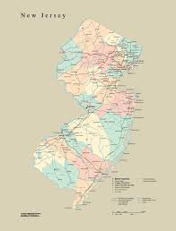 map of nj tackamap new jersey state wall map cut out style from