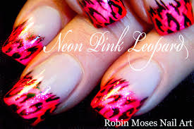 neon pink leopard nails easy messy french mani nail art design