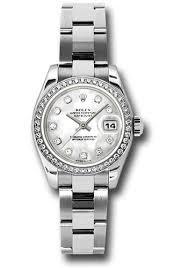 silver rolex bracelet images Rolex datejust lady steel 46 diamond bezel oyster bracelet jpg