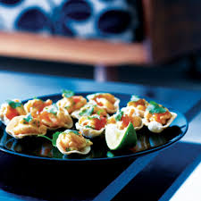 canapes with prawns prawn poppadoms delicious magazine
