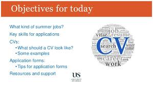 cvs and applications for summer jobs