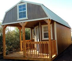 wk deluxe side lofted barn cabin with wrap around porch urethane chestnut jpg