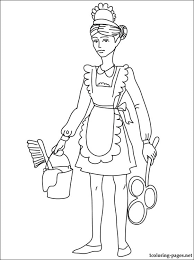 maid coloring coloring pages