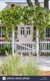 beach house with picket fence and arbor covered in white wisteria