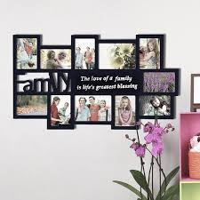 black decorative wood family collage wall hanging photo frame