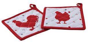 maniques cuisine manique de cuisine en coton lot de 2 poule et coq