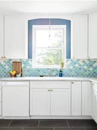 moroccan tile kitchen backsplash at home with michelle gage blue to white gradation of tile in