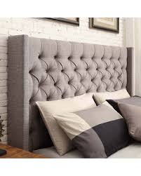 Grey Tufted Headboard Grey Wingback Headboard Throughout Dove Velvet Transitional