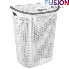 plastic laundry basket washing clothes bin rattan knot style with