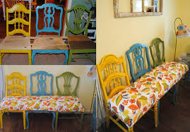 Different Color Dining Room Chairs How To Turn Chairs Into New Beautiful Benches