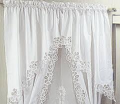 White Lace Valance Curtains Battenburg Lace Long Window Curtain Set