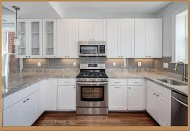 Simple White Tile Backsplash Kitchen With Smart Windows - Modern kitchen backsplash
