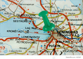 Push Pin Map Leningrad On Old Map Stock Picture I1501247 At Featurepics