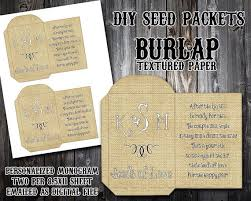 seed packets wedding favors custom monogram burlap diy seed packet printable wedding