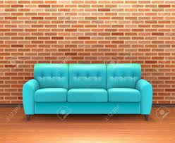 Turquoise Leather Sofa Modern Interior Brick Wall Home Decoration And Design Ideas With