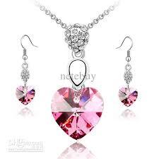 red crystal necklace set images 2018 valentine love heart rose red crystal necklace sets jewelry jpg