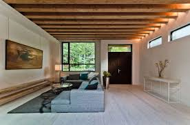 ecological property in montreal with contemporary exposed beams