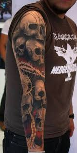 evil skull sleeve tattoos evil skull sleeve ink