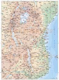 Tanzania Map Tanzania Digital Vector Political Road U0026 Rail Map With Land And