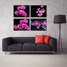 online get cheap contemporary wall paintings aliexpress com 4 panel orchid flower zen decor contemporary wall art hd print painting home decorations for living