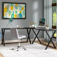 nickel plated desk l trestle desk wayfair