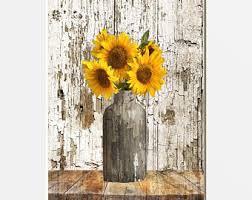 sunflowers decorations home farmhouse sunflower etsy