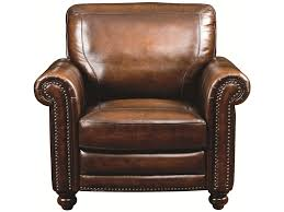 Leather Chair With Ottoman Bassett Hamilton Traditional Leather Chair With Nail Head Trim