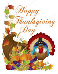 happy thanksgiving day cornucopia turkey illustration stock