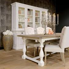 Windsor Oak White Farmhouse Extending Dining Table - Oak dining room sets with hutch