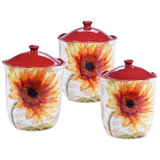 Sunflower Canisters For Kitchen 3 Piece Paris Sunflower Canister Set 25285 The Home Depot