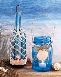 Mason Jar Tea Light Holder Seaside Blue Green Glass Mason Jar Bottle Led Tea Light Holder