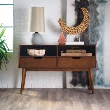 modern console table with drawers mid century modern console tables hayneedle