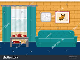 living room flat interior vector home stock vector 566412565