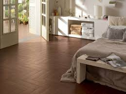 bedroom tile flooring ideas dark brown mattress bed white gloss