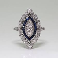 antique silver filled art deco blue sapphire white topaz
