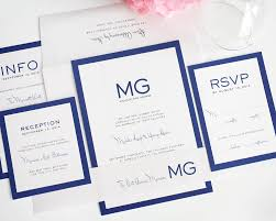 modern wedding invitations in blue with monogram u2013 wedding invitations