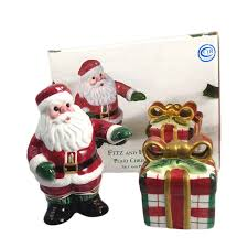fitz and floyd plaid salt pepper shaker set in box